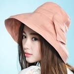 Pre-order หมวกผ้าฝ้ายปีกกว้างติดโบว์ แฟชั่นฤดูร้อน กันแดด กันแสงยูวี สีชมพูส้ม โทนสีพาสเทลมาแรงในปีนี้