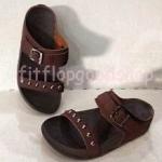 รองเท้า Fitflob New สวม เข็มขัด ปักหมุดเงิน สีน้ำตาลเข้ม No.FF293