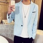 Pre-Order เสื้อสูทผู้ชาย แขนยาวผ้าฝ้ายผสม มีกระเป๋าเจาะที่อกซ้าย ติดกระดุมเม็ดเดียว แต่งริมกระเป๋าผ้าลายจุด แฟชั่นสูทสไตล์เกาหลี สีฟ้า