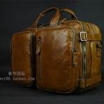 Pre-Order กระเป๋าเดินทาง กระเป๋าธุรกิจ กระเป๋าสะพาย กระเป๋าหิ้ว หนังแท้ สไตล์ย้อนยุค (Retro) สีน้ำตาลผิวมัน