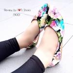 รองเท้าคัชชู ทำจากหนังนิ่มลายดอกไม่น่ารัก