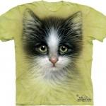 Pre.เสื้อยืดพิมพ์ลาย3D The Mountain T-shirt : Green Eyed Kitten