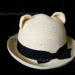 หมวกสานหูหมี ปีกรอบ สีขาวครีม สุดฮิต