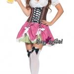ชุดแฟนซี ชุดคอสเพลย์ Oktoberfest Beer ชุดเชียร์เบียร์ ชุดบาวาเรียน = ชุดเมด ชุดสาวเสิร์ฟ เยอรมันคันทรีย์ กระโปรงรูดระบายชมพูเขียว =