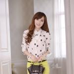 Pre-order เสื้อชีฟองลายเกล็ดหิมะ เสื้อแฟชั่นทำงานเกาหลี ปี 2014
