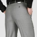 (Pre-Order) กางเกงทำงานผู้ชาย กางเกงขายาว กางเกงธุรกิจ ผ้าฝ้ายผสมโพลีเอสเตอร์ สีเทา แฟชั่นกางเกงทำงานสไตล์ผู้ดีอังกฤษ