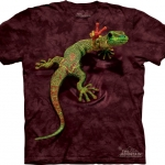 Pre.เสื้อยืดพิมพ์ลาย3D The Mountain T-shirt : Peace Out Gecko