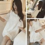 เดรส 2015 เกาหลีใหม่เดรส สีขาว แขนเปิดไหล่ ปักระบายลูกไม้ทั้งตัว สวยน่ารักมากค่ะ
