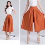 Pre-Order กางเกงขากว้าง กางเกงกระโปรง กางเกงกระโปรงลำลอง ผ้าโพลีเอสเตอร์ผสม สีพื้น สีส้ม