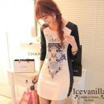 Luxury Vintage Print Dress เดรสผ้าตัดต่อ แฟชั่นสไตล์เกาหลี โทนสี Contrast ดำ-ขาว เนื้อผ้าพื้นขาวช่วงกลางชุดพิมพ์ลาย Vintage สวยงาม ตามรูป ช่วงแขนเสื้อตัดต่อด้วยสีดำ เก๋ไก๋ น่ามอง เนื้องานสวย ผ้าดี ตามแฟชั่นแบบเกาหลีเลยค่ะ