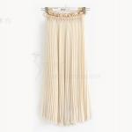 กระโปรงพลีท ผ้าชีฟองเนื้อบางเบา ยาว 82 cm. ฟรีไซส์ สีเบจ