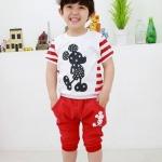 M01177_ชุดเสื้อ+กางเกง ลาย Mickey mouse สีแดง