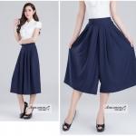 Pre-Order กางเกงขากว้าง กางเกงกระโปรง กางเกงกระโปรงลำลอง ผ้าโพลีเอสเตอร์ผสม สีพื้น สีน้ำเงิน