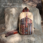 Pre-Order กระเป๋าธุรกิจ กระเป๋าสพาย กระเป๋าหิ้ว หนังแท้ สไตล์ย้อนยุค (Retro) เทคนิคผสมปักลายศิลปะแอซเท็ก (Aztec) สีกากี
