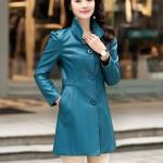 (Pre-order) เสื้อแจ็คเก็ตหนังแท้ เสื้อโค๊ตยาว หนังแกะ แฟชั่นเกาหลี สีฟ้า