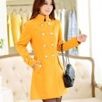 เสื้อโค้ชแฟชั่นนำเข้า : เสื้อโค้ชแฟชั่น พร้อมส่ง ตัวยาว สีเหลือง ดีเทลกระดุมหน้า สุดเก๋ๆ แต่งแขนเก๋ๆ ใส่ไปต่างประเทศได้
