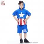 ( 3-4-5 ปี ) ชุดแฟนซี เด็กผู้ชาย Super Hero - The Avengers - Captain America สีน้ำเงิน เสื้อแขนสั้นสกรีนลายเกราะมีหมวก(ฮู้ด) มีไฟกระพริบตรงหน้าอก กางเกงขาสั้น ชุดเสมือนจริงสุดเท่ห์ ลิขสิทธิ์แท้ (สำหรับเด็ก3-4-5 ปี)