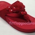 รองเท้า Fitflop Fleur ดอกไม้ 5 ดอก หนังแก้ว/หนังกลับ สีแดง No.FF399