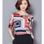 Pre-order เสื้อผ้าชีฟอง คอปาด แขนสั้นแค่ศอก พิมพ์ลายกราฟฟิกสีแดงดำ