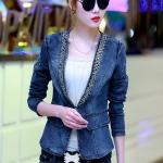 พรีออเดอร์ เสื้อสูทแฟชั่นเกาหลี เสื้อสูทผู้หญิง เสื้อยีนส์ผู้หญิง ประดับหมุดที่ปกเสื้อ แขนยาว ไม่มีปก