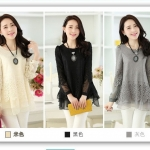 Pre-Order เสื้อผ้าลูกไม้แขนยาว แฟชั่นเสื้อผ้าลูกไม้สไตล์เกาหลี