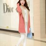 2014  เสื้อโค้ท เสื้อคลุม เวตเตอร์ถัก คาร์ดิแกน สีชมพู แขนยาว + ผ้าคลุมมีฮู๊ด 2 ชิ้น สวยหวานน่ารักมากๆค่ะ