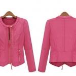 Pre-Order เสื้อแจ็คเก็ตผู้หญิง เสื้อแจ็คเก็ตหนัง PU เสื้อเข้ารูป คอกลม แขนยาว ติดซิปหน้า สีชมพูเข้มและสีเบจ