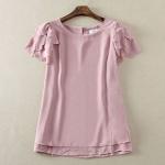 2015 เสื้อเเฟชั่นน่ารัก : เสื้อชีฟอง bottoming สีชมพู แขนปีกนก สลับชั้น สวยหวานน่ารักมากๆค่ะ