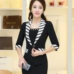 Pre-Order เสื้อสูทแฟชั่นทำงาน เสื้อสูทผู้หญิงสีดำ สูทคอวี คอปกแต่งด้วยผ้าลายทาง แขนสามส่วน แฟชั่นชุดทำงานสไตล์เกาหลี