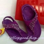 รองเท้า Fitflob Limited รุ่นเพชรกระจาย ใบไม้ รัดส้น สีม่วง No.FF156