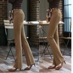 (Pre-Order) กางเกงผู้หญิงทำงาน กางเกงขายาวขาม้า กางเกงแฟชั่นเกาหลีแบบสบาย ๆ ผ้าไนล่อนผสมสเปนเด็กซ์ใส่สบาย ไม่ยับง่าย
