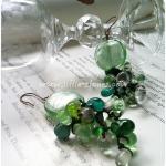 ++ ต่างหู ลูกปัดแก้วถัก สีเขียวมินท์ ++