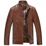 Pre-Order เสื้อแจ็คเก็ตหนังแท้ ผิวกำมะหยี่ สีน้ำตาลแดง (112)