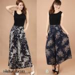 (Pre-Order) กระโปรงกางเกง ผ้าลินิน ผ้าพิมพ์ลาย แฟชั่นมาใหม่สไตล์เกาหลี (ลาย A ดอกไม้ Pteris ลาย B สีฟ้า)