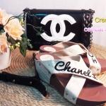"""รองเท้าส้นตึก เสริมหน้า 1"""" สายไขว้ ปัก Chanel"""