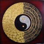 ภาพหยินหยาง เวียนว่าย ภาพวาด ติด ทองคำเปลวแท้100% ขนาด1x1เมตร