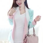 2014 เสื้อคลุมแฟชั่นน่ารัก : เสื้อคลุมสูท Spring Tide แขนยาว สีฟ้าอ่อน คอปก สีชมพูอ่อน สวยหวานน่ารักมากๆค่ะ