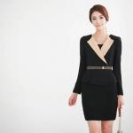Pre-Order ชุดเดรสทำงาน ชุดแสคทำงาน ผ้าโพลีเอสเตอร์ผสมสแปนเด็กซ์ สีดำ-อัลมอนด์ แขนยาว สไตล์ Luxury แฟชั่นเกาหลี บิ๊กไซส์