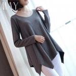 (Pre-order) เสื้อสเวตเตอร์ เสื้อถัก เสื้อคลุม ผ้าโพลีเอสเตอร์ แฟชั่นชั่นเสื้อผ้าเวอร์ชั่นเกาหลี สีเทา