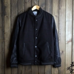 Pre-Order เสื้อเบสบอล เสื้อแจ็คเก็ตเบสบอลผู้ชาย ผ้าขนสัตว์สีดำ แต่งแขนหนัง และขอบกระเป๋าด้วยหนัง PU สีดำ