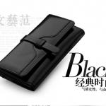 Pre-order กระเป๋าสตางค์หนังแท้ผู้หญิง กระเป๋าสตางค์แบบยาว สีดำ แฟชั่นเกาหลี