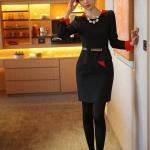 Pre-Order ชุดเดรสผู้หญิงทำงาน ชุดกระโปรงสั้น เสื้อคอกลม แขนยาว แต่งระบายด้านหน้า แฟชั่นเสื้อผ้าเกาหลี สีดำ