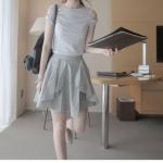 พรีออเดอร์ กระโปรง ลำลอง ผ้าฝ้าย สาววัยรุ่น สีเทาอ่อน