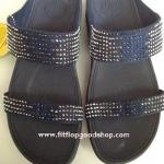 รองเท้า Fitflob Flare Slide สวม 2 สายเพชรกระจาย สีน้ำเงิน No.FF032