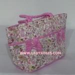 กระเป๋าถือ นารายา ผ้าคอตตอน ลายหยดน้ำ สีชมพู ติดโบว์เล็กๆ ด้านหน้า สายหิ้ว หูเปีย (กระเป๋านารายา กระเป๋า NaRaYa กระเป๋าผ้า)