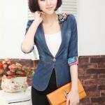Pre-order เสื้อสูทแฟชั่นเกาหลี 2014 ผ้ายีนส์เข้ารูป