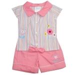 ชุดเด็กหญิง เสื้อและกางเกง สีฟ้าและชมพู 6-9 เดือน