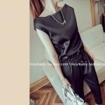 Pre-order ชุดเดรสกางเกงขายาว เสื้อแขนกุด ผ้าซาตินเนื้อดี สีดำ แฟชั่นเกาหลีปี 2014 สำเนา