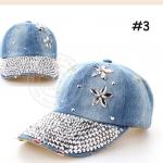 (Pre-order) หมวกเบสบอล ปักหมุดเงิน ปักเพชรอคริลิค ผ้ายีนส์ แฟชั่นหมวกคาวน์บอยเท่ ๆ สีบลูยีนส์