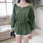 (Pre-Order) เสื้อชีฟองประดับลูกไม้ เสื้อลำลองแขนยาว แฟชั่นเกาหลี สีเขียว